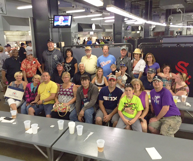 Part of the crowd supporting FOFH-IL's annual outing gathered for an after-all-you-can-eat buffet photo. For those who sweltered with us in Chicago heat at the 2015 White Sox Benefit, the good news is that we raised $1,635 with 124 tickets sold. FOFH-IL paid for 6 military family members to attend. Thanks to Chair Eddie Jackson for our best outing to date. Eddie solicited a $500 BurgerOne sponsorship which helped offset the ticket expense.